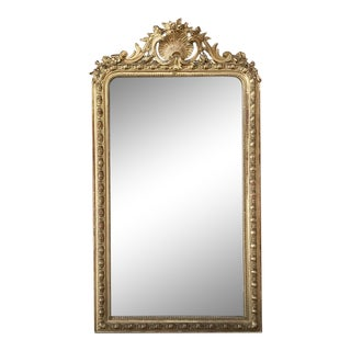 19th Century French Louis XVI Gilded Mirror From Napoleon III Period For Sale