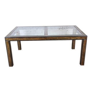 Bernhard Rohne for Mastercraft Acid Etched Brass Extension Dining Table, 1970s For Sale