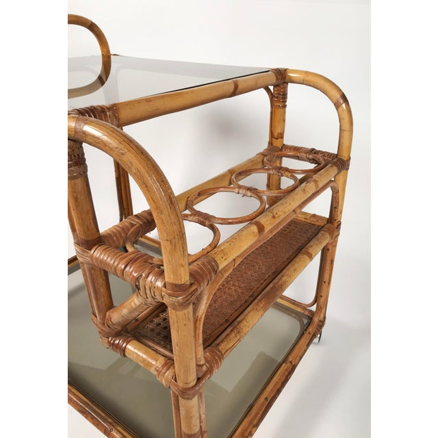 Rattan and Smoked Glass Bar Cart For Sale In Kansas City - Image 6 of 8