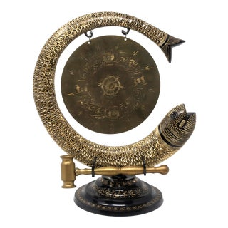 Vintage Large Unique Brass Gong Asian Decorative Koi Fish Gong With Brass Hammer - Spectacular!! For Sale