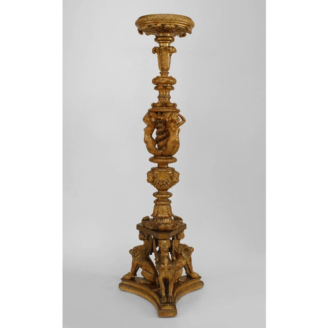 Pair of 19th C. French Louis XVI Style Gilt Carved Pedestals For Sale - Image 9 of 10