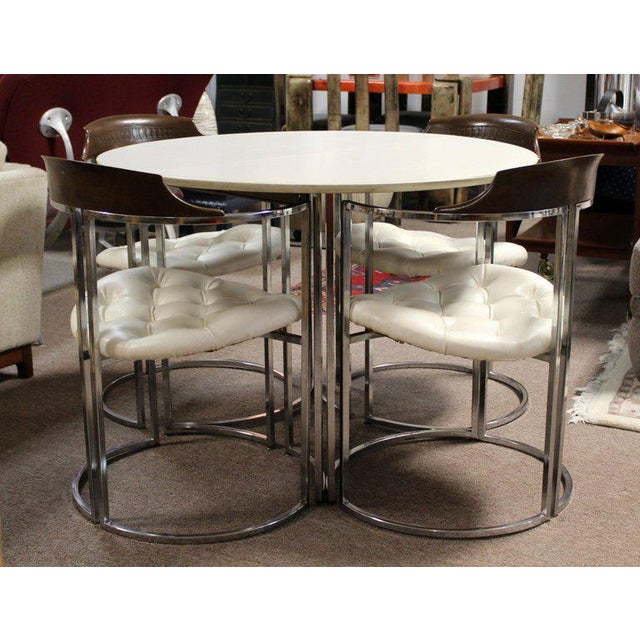 For your consideration is a magnificent dinette set, including a table made of chrome and with a white laminate top, with...