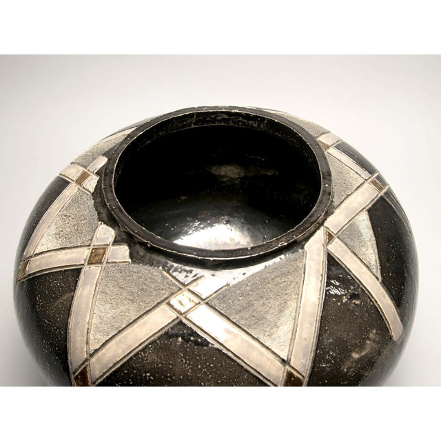 Art Deco Large Art Pottery Deco Style Black and Gold Vase For Sale - Image 3 of 5