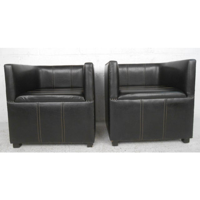 e1fdba752bd47 Black Pair of Mid-Century Modern Style Miniature Leather Club Chairs For  Sale - Image