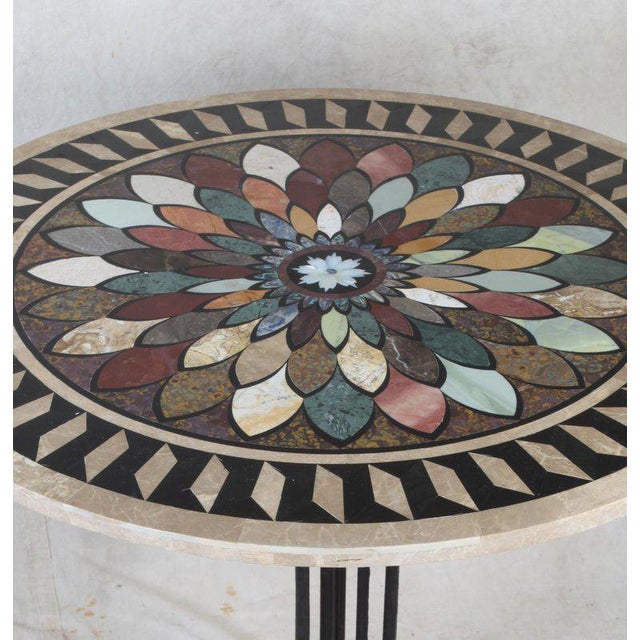 Art Deco Art Deco Cast Iron Base Table With Pietra Dura Specimen Top and 4 Iron Chairs For Sale - Image 3 of 13