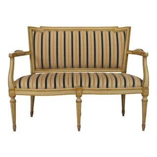 Italian Neoclassic Striped Loveseat For Sale