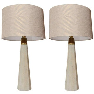 Brass Trimmed Poured Concrete Table Lamps - A Pair