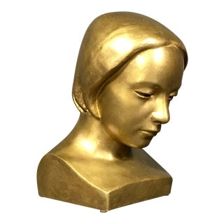 1953 Bronze Sculptural Bust, Curt Hansson, Sweden For Sale