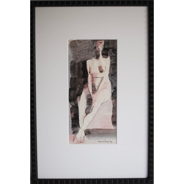 Vintage Figurative Watercolor by Mary Finley Fry - Image 3 of 6