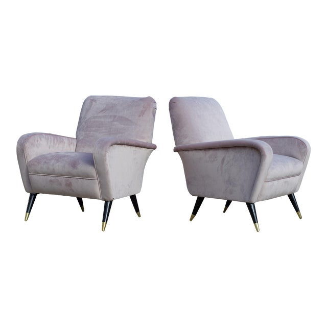 Luxe Lounge Chairs in Lilac For Sale