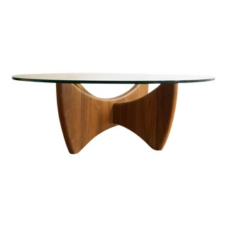 Adrian Pearsall Style Mid Century Modern Sculpted Walnut Coffee Table For Sale