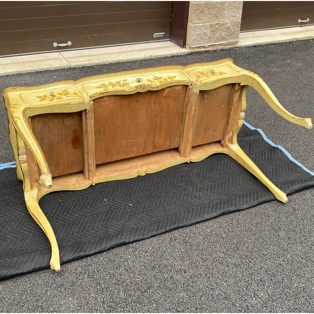 Light Yellow Distressed French Provincial Painted Desk For Sale - Image 8 of 13