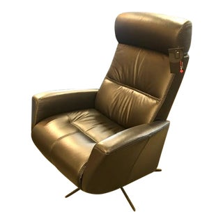 Fjord Modern Black Leather Recliner For Sale