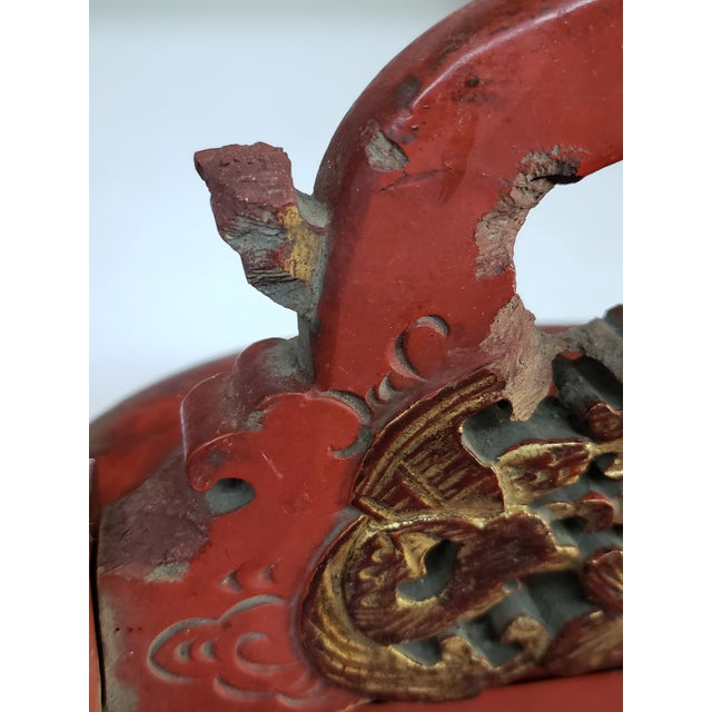 1960s Vintage Chinese Red Painted Wood Food Wedding Basket For Sale In West Palm - Image 6 of 7