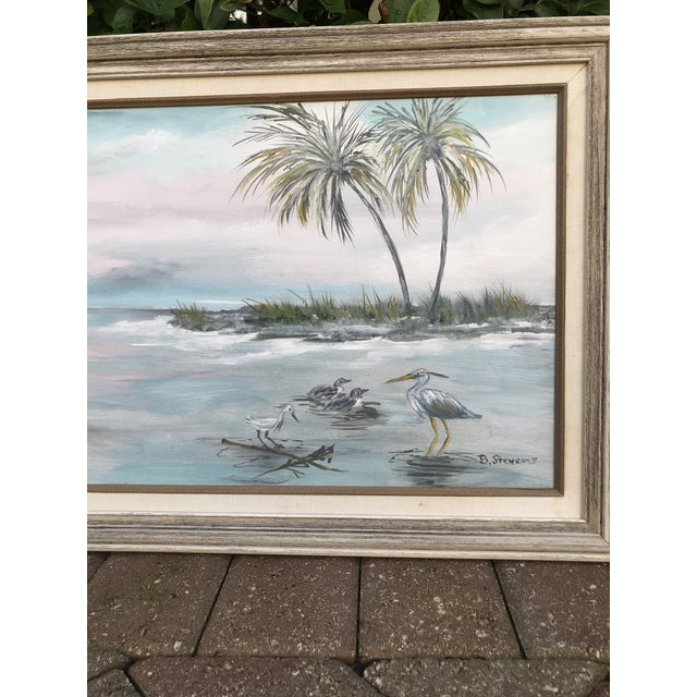 """Mid 20th Century Vintage """"Old Florida"""" Style Shoreline Scene Original Painting For Sale - Image 5 of 6"""