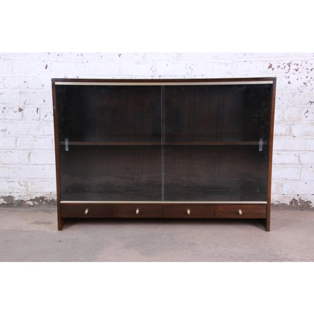 "Paul McCobb for Calvin ""Irwin Collection"" Mahogany Glass Front Cabinet or Bookcase For Sale - Image 13 of 13"