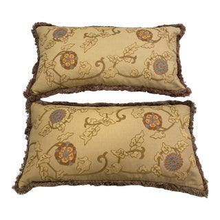 Embroidered Large Lumbar Pillows - a Pair For Sale