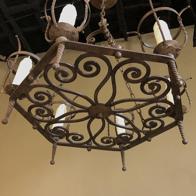 Mid 20th Century Antique Country French Wrought Iron Chandelier For Sale - Image 5 of 11