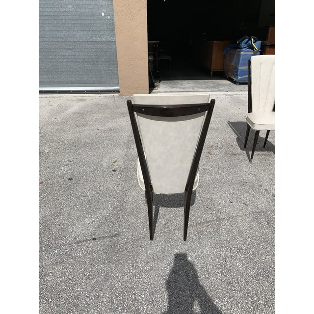 1940s Vintage French Art Deco Solid Mahogany Dining Chairs- Set of 6 For Sale - Image 11 of 12