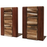 Image of Jane and Gordon Martz Walnut Ceramic Bookends for Marshall Studios For Sale