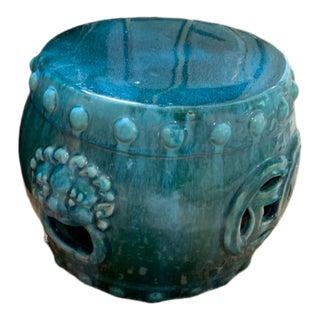 Late 20th Century Chinese Dark Turquoise Ceramic Drum Garden Stool For Sale