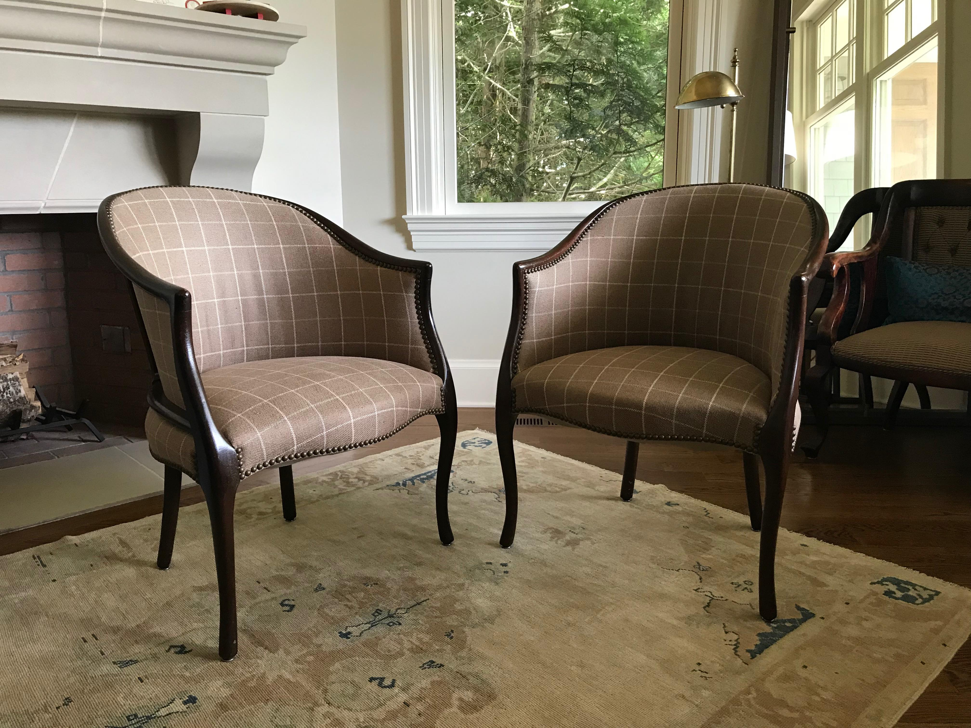 Late 20th Century Vintage Ralph Lauren Fabric Library Club Chairs   A Pair    Image 2