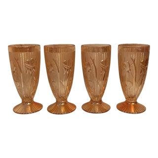 1930s Americana Marigold Iris Carinval Tangerine Tulip Glasses - Set of 4 For Sale