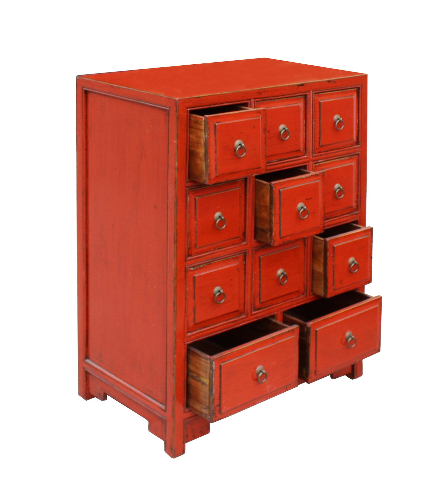 Attirant Chinese Oriental Distressed Red Lacquer 11 Drawers Side Table Cabinet    Image 4 Of 7