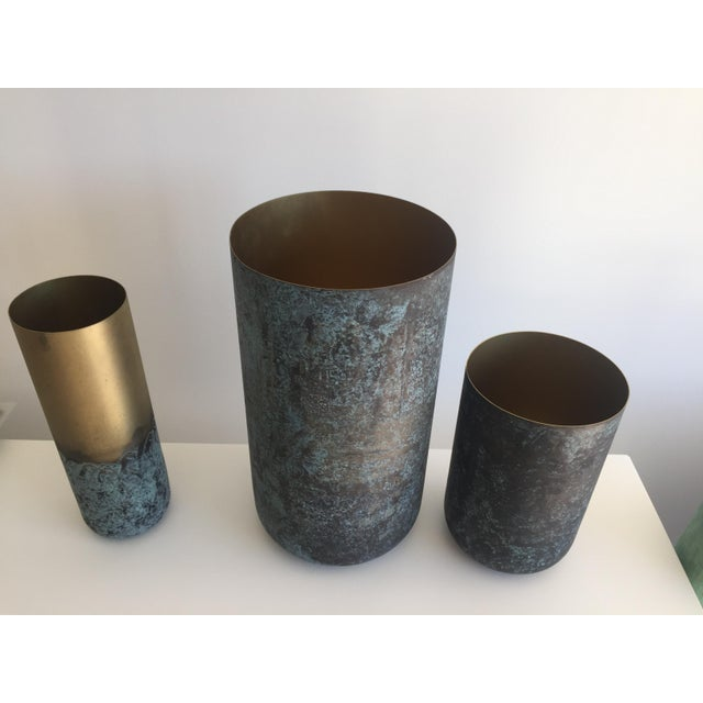 2010s BoConcept New Oxidized Vases - Metal For Sale - Image 5 of 7