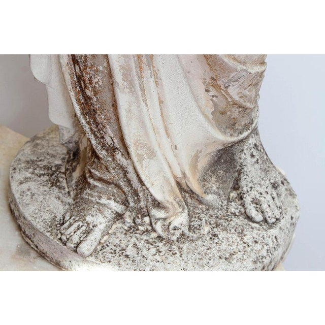 Mid 19th Century 19th Century French Hand Carved Stone Female Statue For Sale - Image 5 of 13