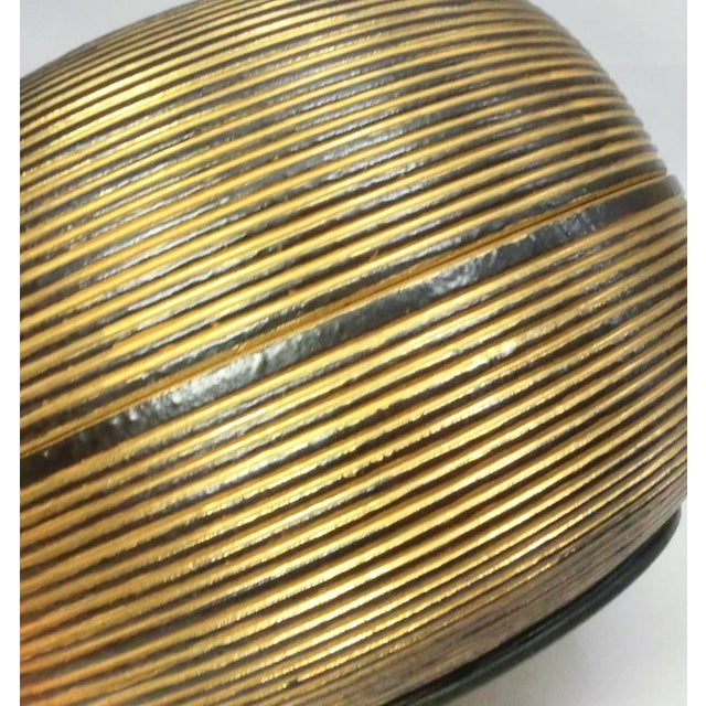Ceramic Japanese Ceramic Gilded Gold Black Lidded Container Dome Shape Art Deco Style Box Asian For Sale - Image 7 of 12