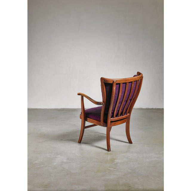 Elegant Danish Wingback Armchair with Warm Deep Purple Cushions For Sale - Image 4 of 5