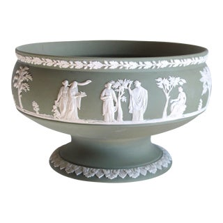 An Elegant English Jasperware Olive-Green Compote; Stamped 'Wedgwood' For Sale