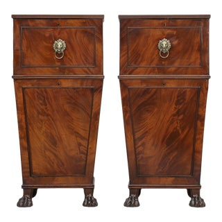 Antique English Mahogany Cellarettes - a Pair For Sale
