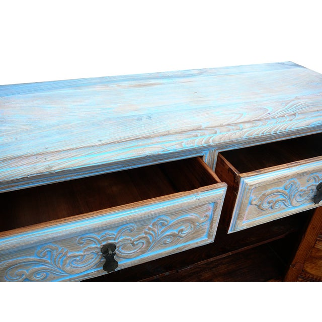 Shabby Rustic Light Blue High Credenza Cabinet For Sale In San Francisco - Image 6 of 7