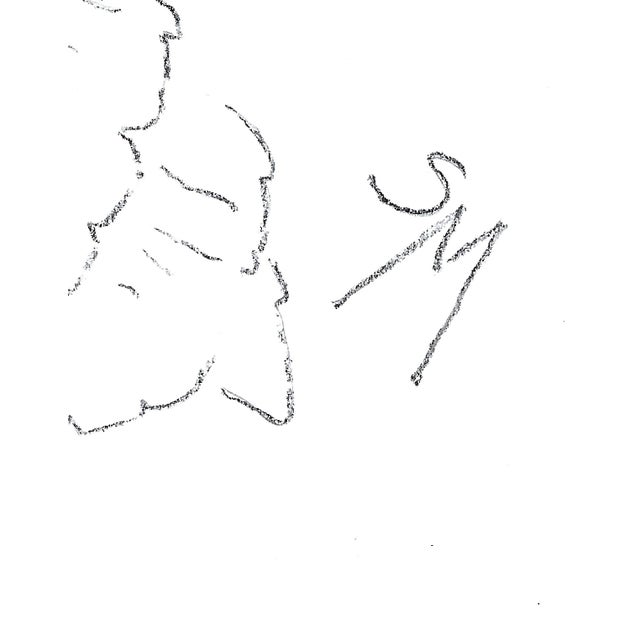 """Sarah Myers """"Woman in a Flared Hat"""" Modern Line Drawing For Sale In Kansas City - Image 6 of 7"""