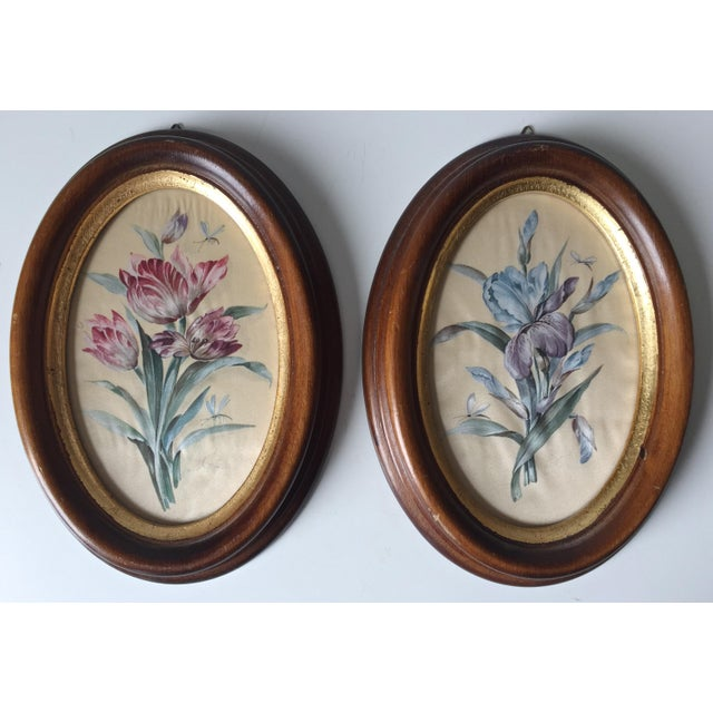 Vintage Florentine Framed Silk Botanicals - A Pair - Image 2 of 7