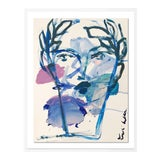Image of Roman Face by Leslie Weaver in White Framed Paper, Small Art Print For Sale
