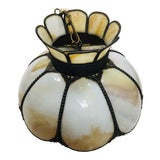 Image of Vintage Tiffany Style Glass Tulip Swag Lamp Amber Tan Floral Beading For Sale