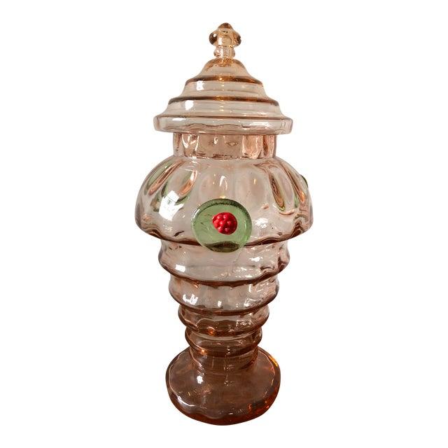 Mid Century Italian Art Glass Candy Jar For Sale