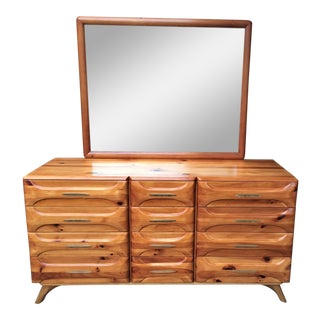 Franklin Shockey Mid-Century Sculptured Pine Dresser With Mirror