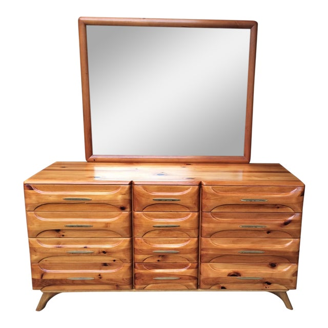 Franklin Shockey Mid-Century Sculptured Pine Dresser With Mirror Rustic Modern For Sale