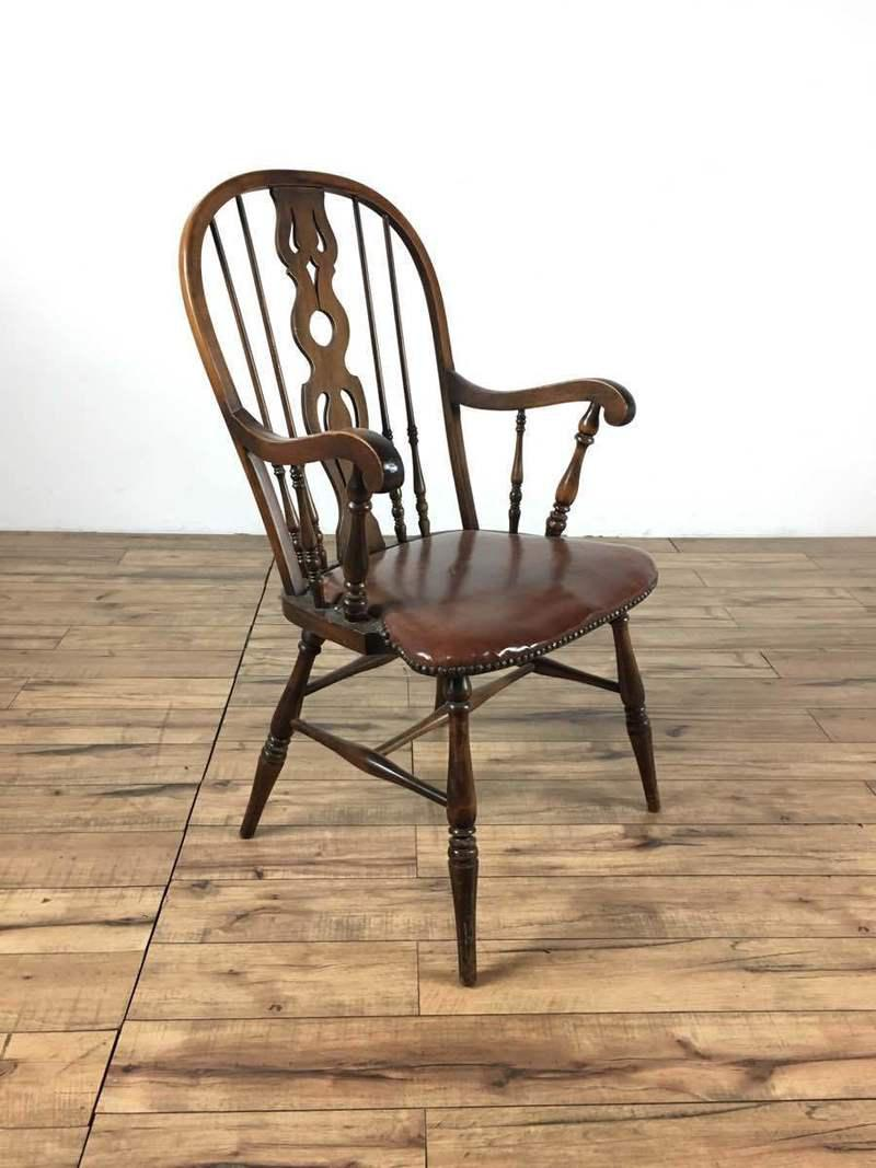 Country Vintage Wood Spindle U0026 Harp Back Armchair For Sale   Image 3 ...