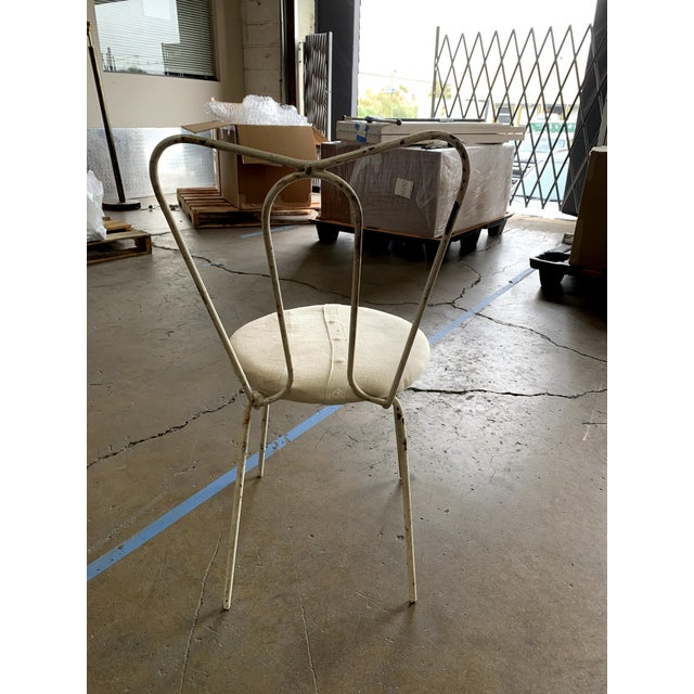 """White Metal Garden Chairs with Patchwork Upholstered Seat Size: 15""""Dia Seat x 31""""H x 17""""SH Quantity: Set of 16 Chairs can..."""