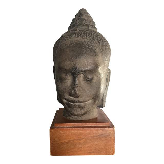 Early 20th Century Antique Cambodian Head of Buddha on Wooden Base For Sale