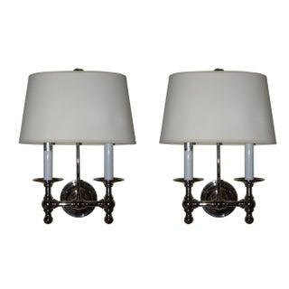 Visual Comfort E. F. Chapman Classic 2-Light Nickel Wall Lamps - A Pair