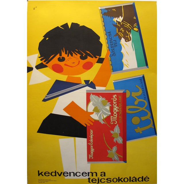 Original Hungarian Swinging 60's Chocolate Poster - Image 2 of 4