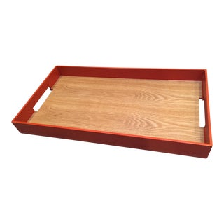 Orange and Wood Grain Large Tray