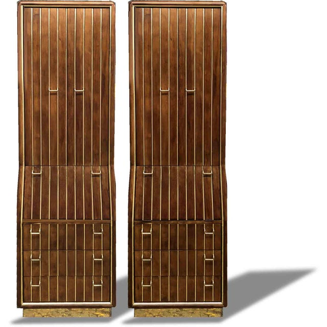 Hollywood Regency 1960s Mid-Century Modern Brass Pinstripe Chifforobes by American of Martinsville - A Pair For Sale - Image 3 of 10