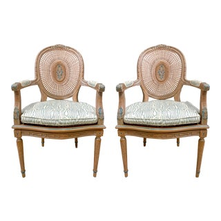 Pair of French Style Caned Chairs For Sale